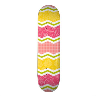 Hot Pink, Salmon, Bright Yellow and Green Cute Skateboard
