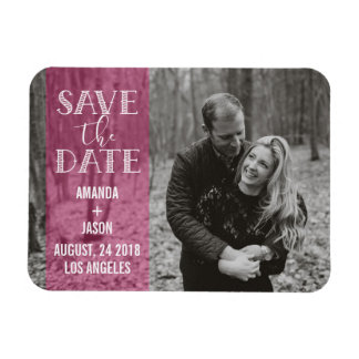 Hot Pink Save The Date  Banner Overlay Photo Magnet