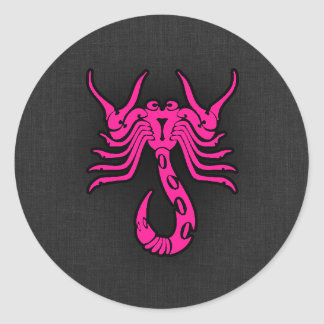 Hot Pink Scorpio Scorpion Zodiac Sign Classic Round Sticker