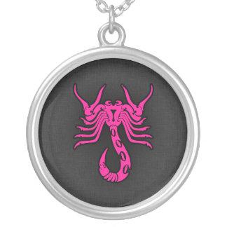 Hot Pink Scorpio Scorpion Zodiac Sign Personalized Necklace