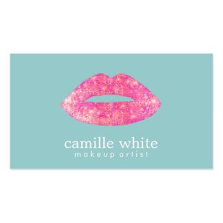 Hot Pink Sequin  Lips Beauty Salon Cute Teal Business Card Templates