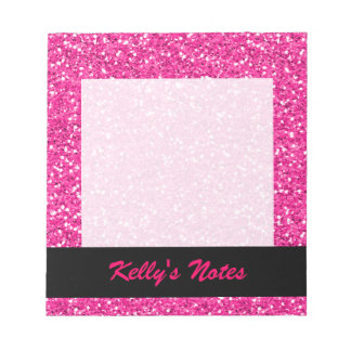 Hot Pink Shimmer Glitter Notepad