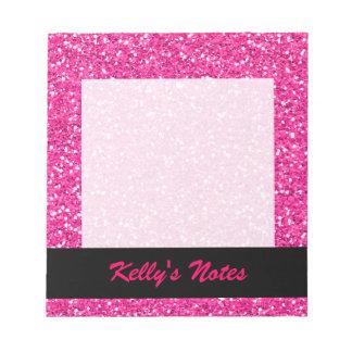 Hot Pink Shimmer Glitter Notepads