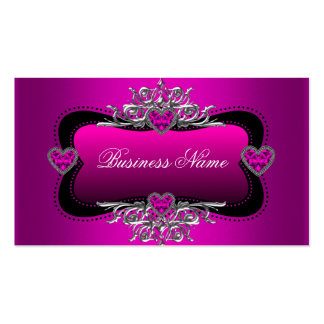 Hot Pink Silver Diamond Hearts Elegant Business Business Card Templates