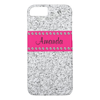 Hot Pink & Silver Glitter BLING iPhone 7 case