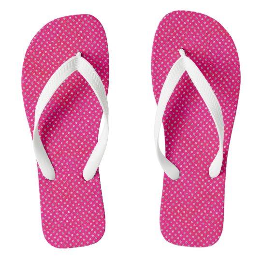 Hot Pink & Silver Glitter Polka Dots Thongs