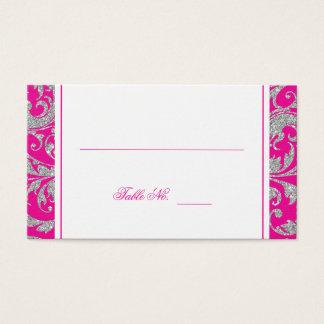 Hot Pink Silver Glitter Swirl Damask Place Card