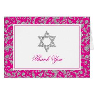 Hot Pink Silver Glitter Swirl Damask Thank You Card