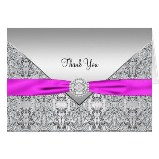 Hot Pink Silver Lace Thank You Cards