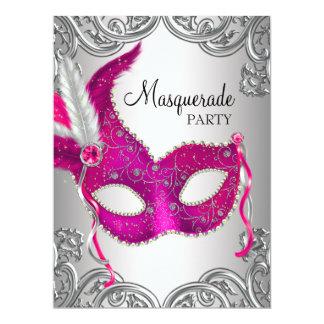 Hot Pink Silver Mask Masquerade Ball Party Invitation