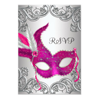 Hot Pink Silver Mask Masquerade Party RSVP Invite