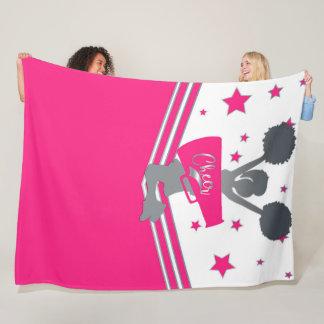 Hot Pink & Silver Stars Cheer Cheer-leading Girls Fleece Blanket