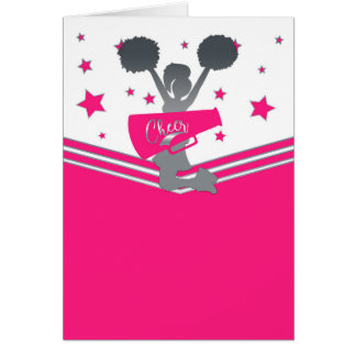 Hot Pink Silver Stars Cheer-leading Thank You Card