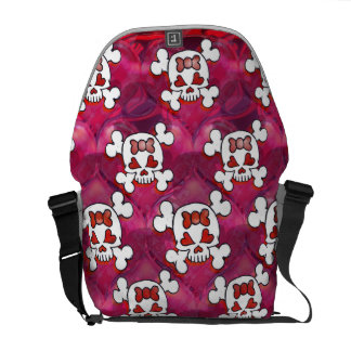 Hot Pink Skulls and Hearts Courier Bags