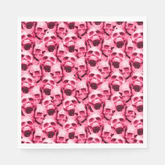 Hot Pink Skulls Disposable Serviette
