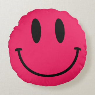 Hot Pink Smiley Face Round Throw Pillow Round Cushion