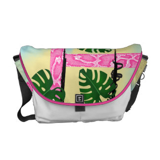 Hot Pink Snakeskin Tropical Leaves Commuter Bags