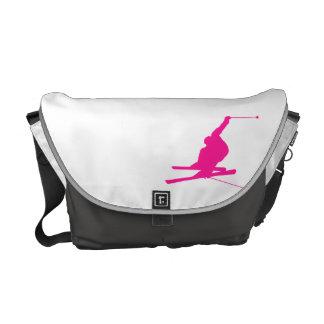 Hot Pink Snow Ski Messenger Bags