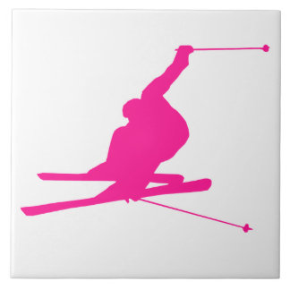 Hot Pink Snow Ski Tile