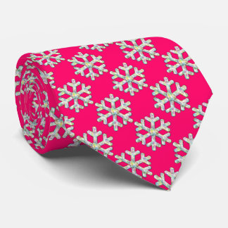 Hot Pink Snowflake and Heart Winter Tie