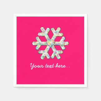 Hot Pink Snowflake Pink Christmas Disposable Serviette