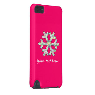 Hot Pink Snowflake Pink Christmas iPod Touch (5th Generation) Case