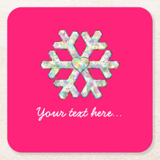 Hot Pink Snowflake Pink Christmas Square Paper Coaster