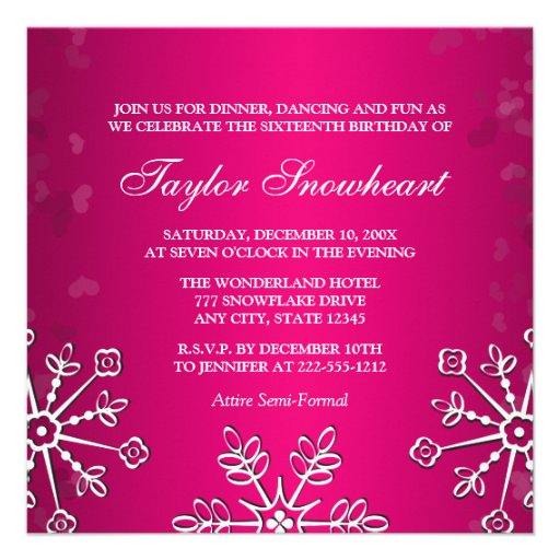HOT PINK SNOWFLAKE SWEET SIXTEEN BIRTHDAY PERSONALIZED ANNOUNCEMENT