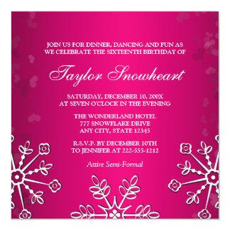 HOT PINK SNOWFLAKE SWEET SIXTEEN BIRTHDAY 5.25X5.25 SQUARE PAPER INVITATION CARD