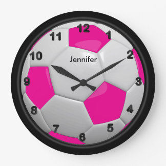Hot Pink Soccer Ball Style Large Clock