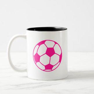 Hot Pink Soccer Ball Two-Tone Mug