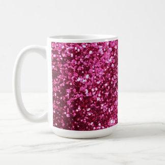 Hot pink sparkle glitter coffee mug