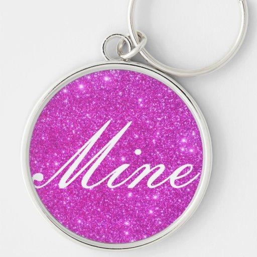 Hot Pink Sparkle Glittery CricketDiane Art Key Chain
