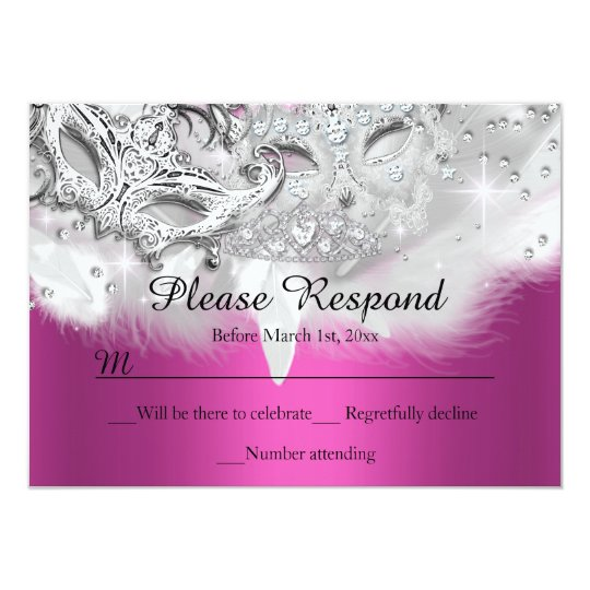 Hot Pink Sparkle Masquerade RSVP Reply Card