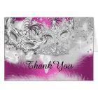 Hot Pink Sparkle Masquerade Thank You Card