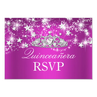 Hot Pink Sparkle Tiara & Stars Quinceanera RSVP Personalized Announcement