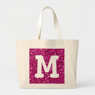 Hot Pink Sparkly Faux Glitter Look Monogram Large Tote Bag