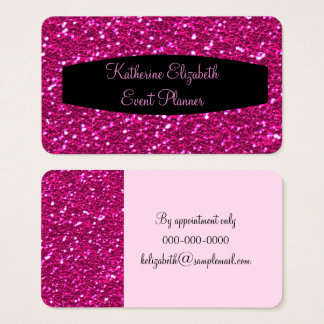 Hot Pink Sparkly Glitter Glam Event Planner Business Card