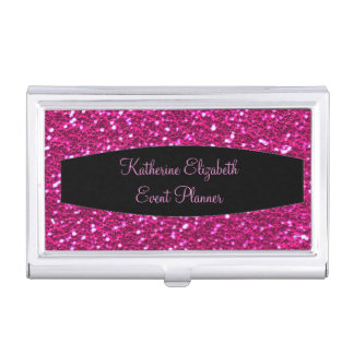 Hot Pink Sparkly Glitter with Black Banner Glam Business Card Holder