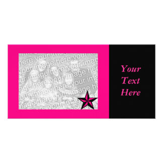 Hot Pink Star Border Photo Card