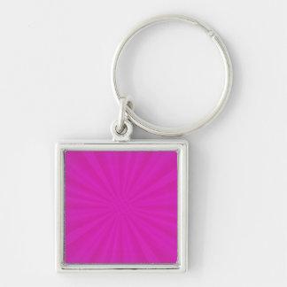 Hot Pink Star Burst Desgin Silver-Colored Square Key Ring