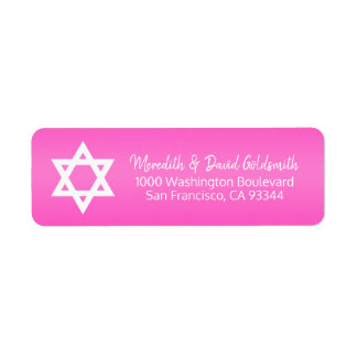 Hot Pink Star of David Bat Mitzvah Return Address Return Address Label