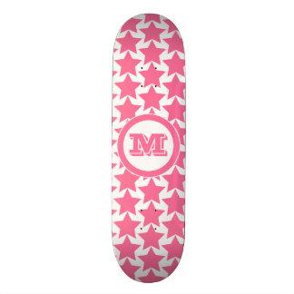 Hot Pink Stars Pattern & Monogram | Girls' Skateboard Deck