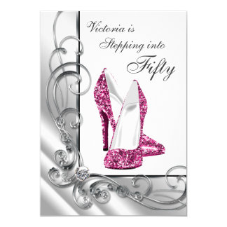 Hot Pink Stepping Into 50 Birthday Party Card