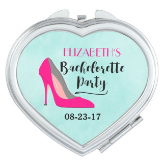 Hot Pink Stiletto High Heel Bachelorette Party Compact Mirror