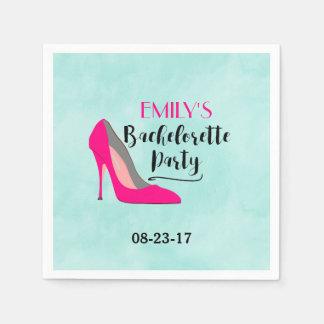 Hot Pink Stiletto High Heel Bachelorette Party Disposable Napkin