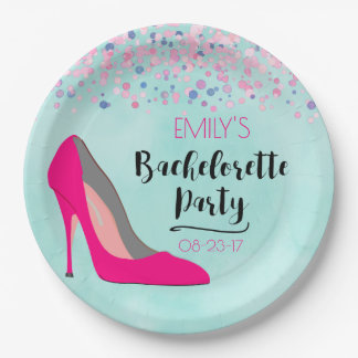 Hot Pink Stiletto High Heel  Bachelorette Party Paper Plate