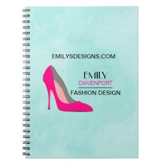 Hot Pink Stiletto High Heel Shoe Chic Business Notebook