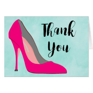 Hot Pink Stiletto High Heel Shoe Chic Thank You Card