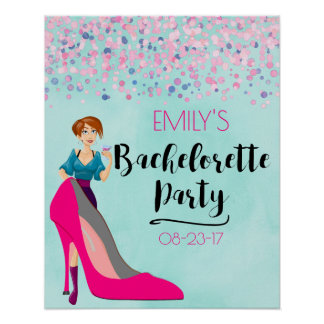 Hot Pink Stiletto & Party Girl Bachelorette Poster